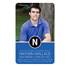 Custom Royal Blue Block Initial Graduation Photo Invitation