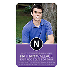 Custom Purple Block Initial Graduation Photo Invitation