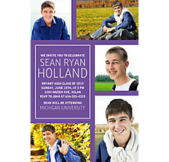 Custom Classic Purple Collage Graduation Photo Invitation