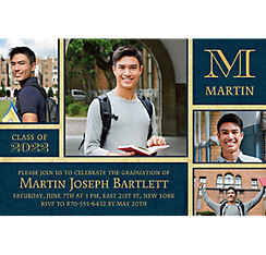 Custom Gold & Navy Textured Graduation Collage Photo Invitation