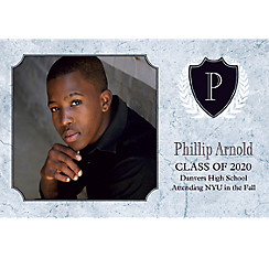 Custom Silver Stone Initial Graduation Photo Announcement