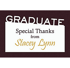 Custom Graduate Black Slant Thank You Note