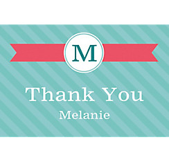 Custom Teal & Pink Initial Graduation Thank You Note