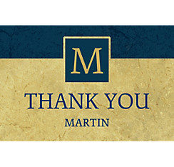 Custom Gold & Navy Textured Graduation Thank You Note