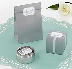 Silver Scroll Thank You Sticker Seals 50ct