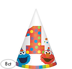 1st Birthday Elmo Party Hats 8ct
