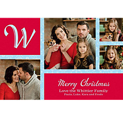 Custom Classic Red Snowflakes Collage Photo Card