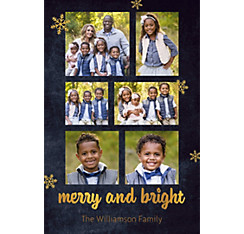 Custom Chalkboard Merry & Bright Collage Photo Card