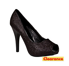 Black Glitter Peep-Toe Shoes