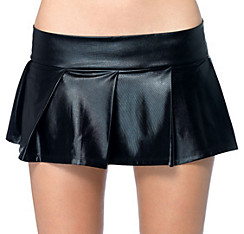 Adult Wet Look Black Pleated Skirt