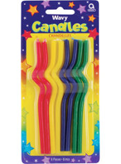 Wavy Birthday Candles 5in 8ct