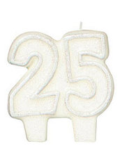 Number 25 Silver Glitter Birthday Candle 3in