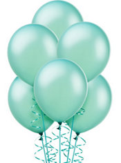 Pearl Aqua Latex Balloons 12in 72ct