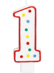 Number 1 Polka Dot Birthday Candle with Glitter 5in