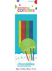 Tall Multicolor Sparkler Birthday Candles 18ct