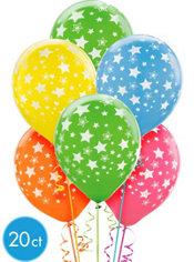 Latex Bright Star Printed Balloons 12in 20ct
