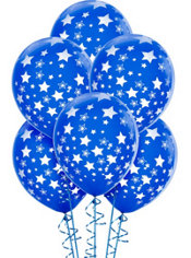 Latex Royal Blue Star Printed Balloons 12in 6ct