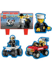 Lego City Birthday Cake Decorations 4ct
