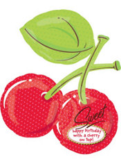Foil Sweet Cherries Happy Birthday Balloon 33in