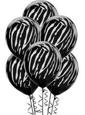 Black Zebra Balloons 6ct