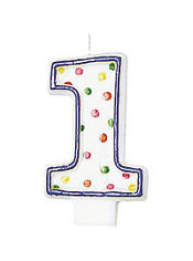 Number 1 Polka Dot Birthday Candle 3in