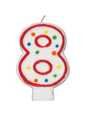 Number 8 Polka Dot Birthday Candle 3in
