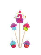 Number 2 & Cupcake Candle Picks 5ct