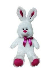 Bright Pink Bow Easter Bunny Plush