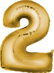 Number 2 Metallic Gold Foil Balloon 34in