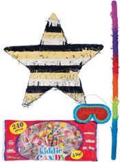 Foil Black, Silver & Gold Star Pinata Kit