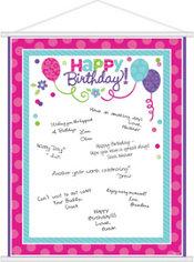 Purple & Teal Pastel Birthday Sign-In Sheet