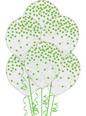 Transparent & Kiwi Green Dot Balloons 6ct