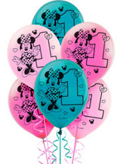 1st Birthday Minnie Mouse Balloons 15ct