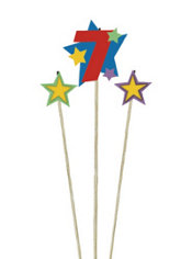 Number 7 & Star Candle Picks 3ct