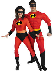 Mrs. Incredible and Mr. Incredible Muscle Couples Costumes