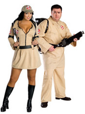 Plus Size Sexy Ghostbuster and Plus Size Ghostbusters Couples Costumes