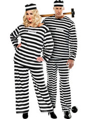 Plus Size Lady Lawless and Plus Size Convict Prisoner Couples Costumes