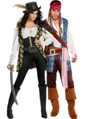 Deluxe Angelica and Classic Captain Jack Sparrow Pirates of the Caribbean Couples Costumes
