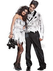 Zombie Bride and Zombie Groom Couples Costumes