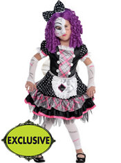 Girls Damaged Doll Costume