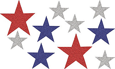 Glitter Red, Silver & Blue Star Cutouts 10ct