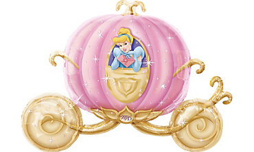 Foil Pink Carriage Cinderella Balloon 32in