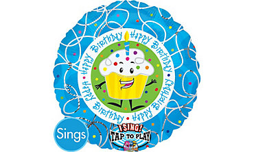 Happy Birthday Cupcake Singing Foil Balloon 28in