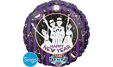 Foil New Years Singing Balloon 28in