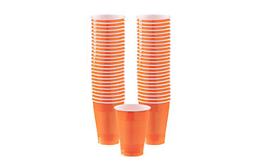 Orange Plastic Cups 12oz 50ct