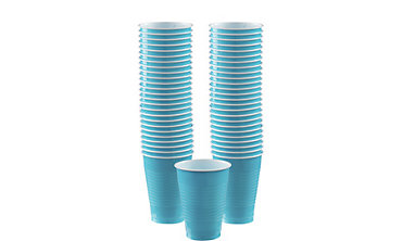 Caribbean Blue Plastic Cups 12oz 50ct
