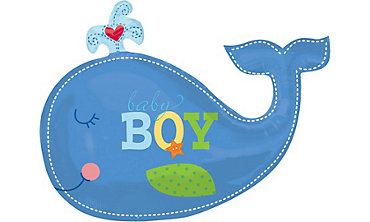 Foil Giant Ahoy Baby Boy Whale Balloon 34in