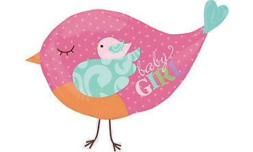 Foil Giant Tweet Bird Baby Girl Balloon 35in