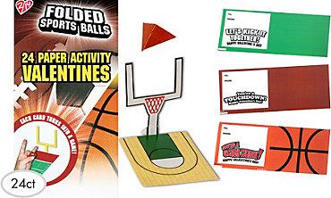 Folded Sports Balls Valentine Exchange Cards 24ct