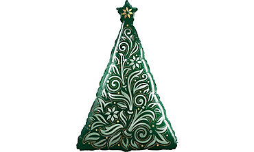 Damask Christmas Tree Balloon 39in